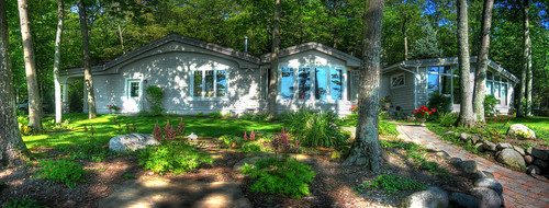 panorama usa house lake holiday beautiful garden relax view michigan villa hdr