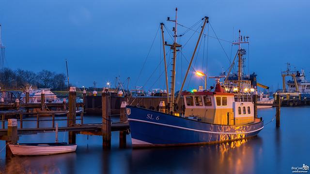 Morning blue hour harbor Stellendam
