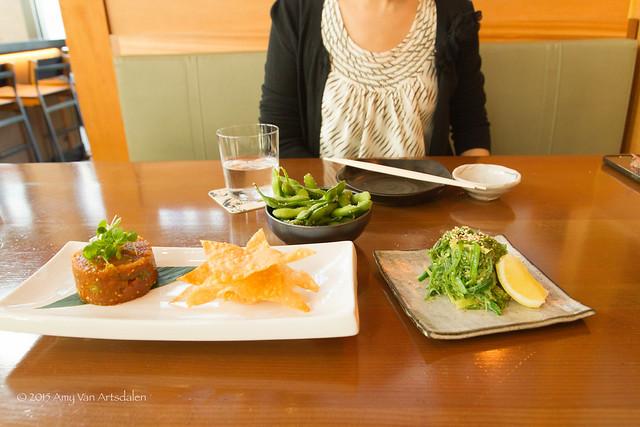 Ahi Tuna Poke, Edamame, and Kaiso Seaweed Salad