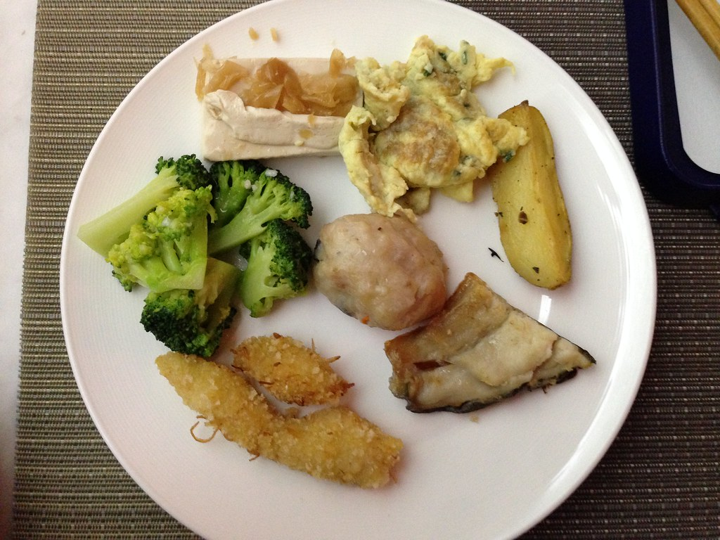 Selection of hot food from the buffet