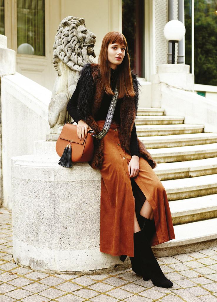 Midi Skirt, Maxi, Mixi, Button-Through, Faux Fur Gilet, Suedette, Faux Suede