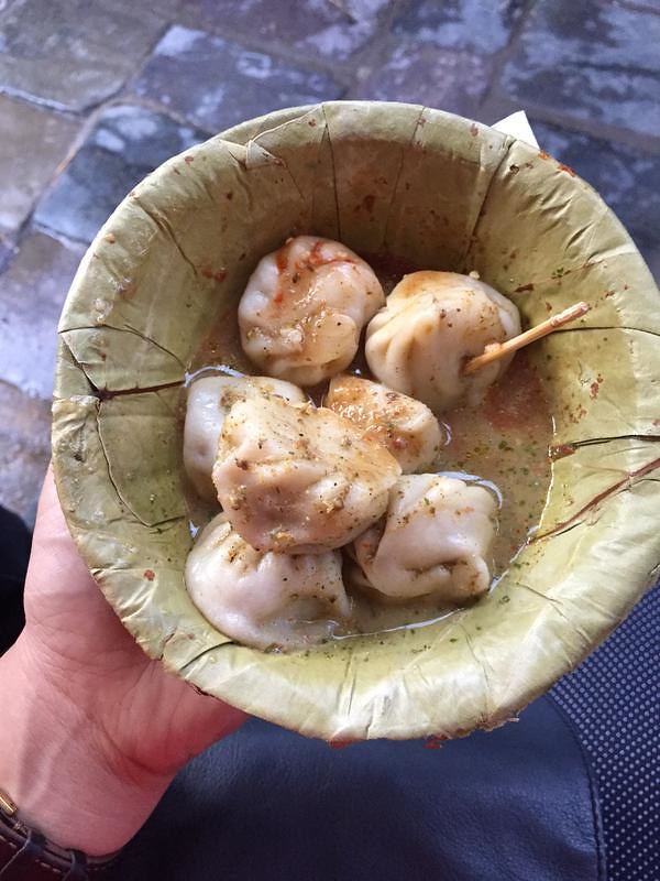 Momos - dumplings in spicy sauce.