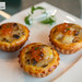 Baked scallop puffs with salmon roe