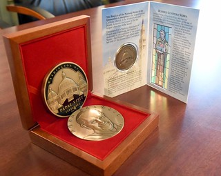Pope medal with packaging