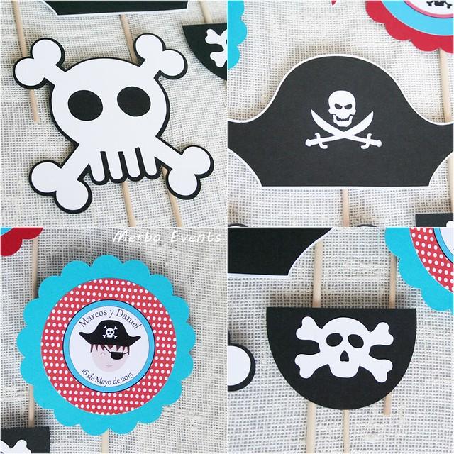 Pinchos temáticos para centro de mesa pirata MErbo Events
