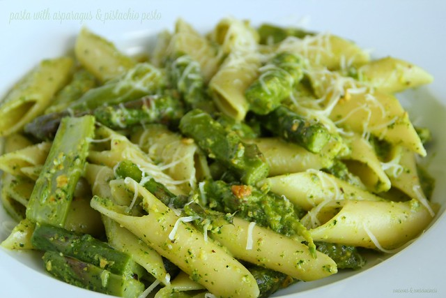 Pasta with Asparagus & Pistachio Pesto 1