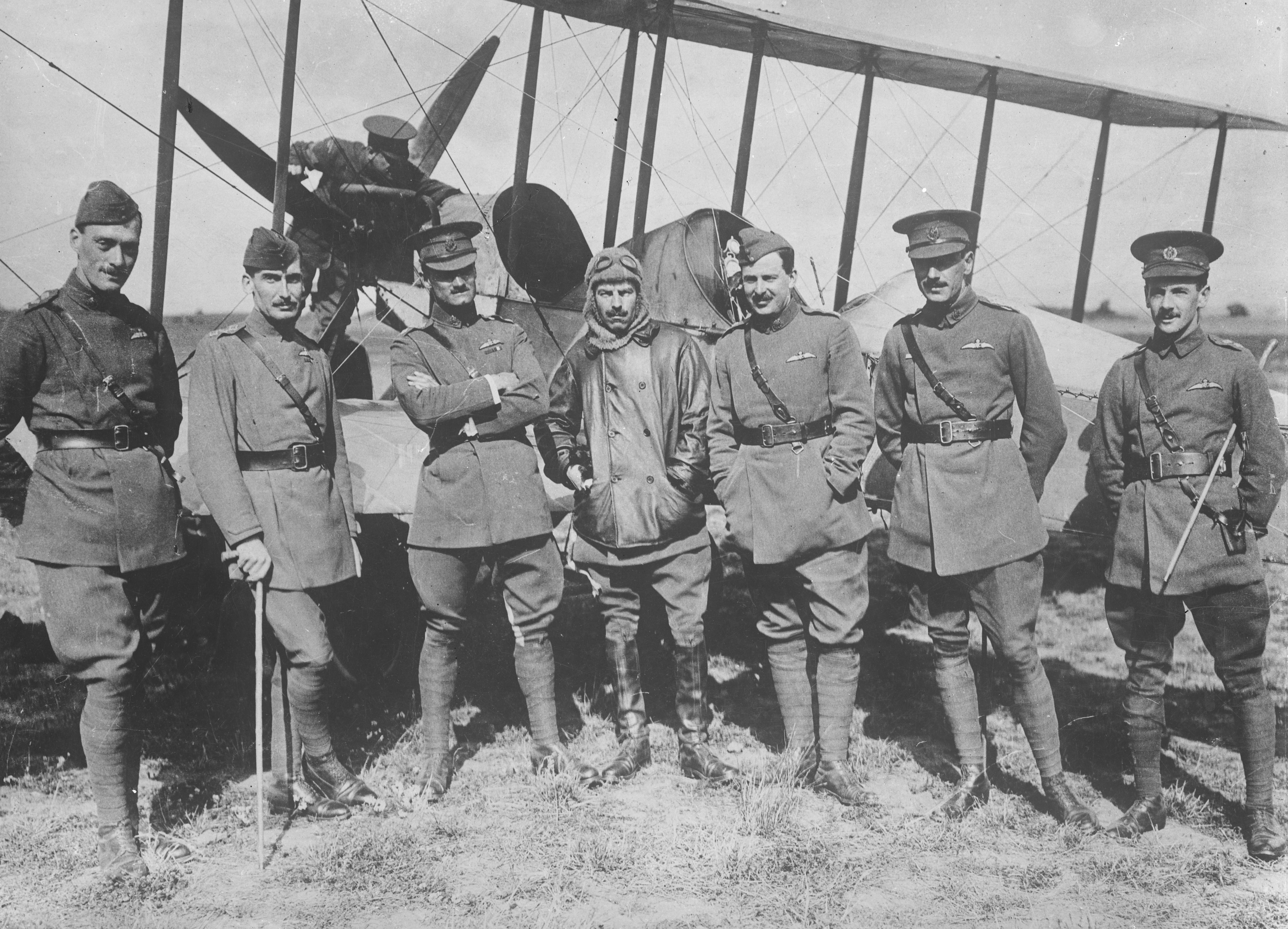 Royal Flying Corps officers in front of a BE2b.