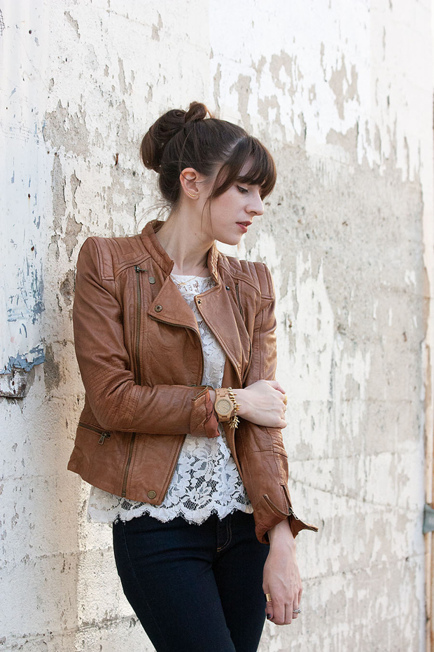 Zara Leather Jacket, Loft Lace Tee, Jord watch,