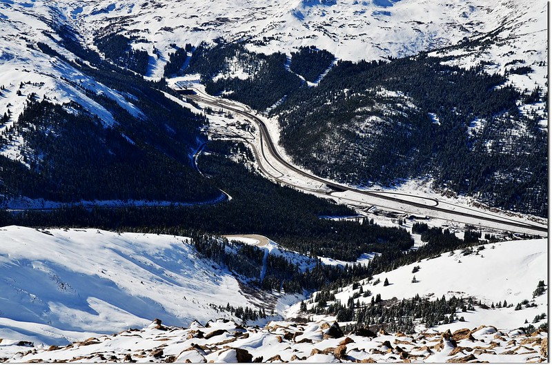 Overlooking down onto Eisenhower Tunnels from the summit of Mount Sniktau 1