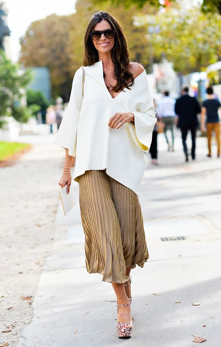 pleated skirts midi streetstyle outfit inspiration9