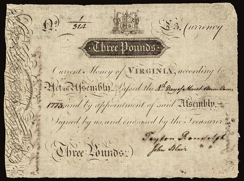 1773 Colonial Virginia James River Bank Form