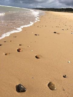 Omaha Beach, water, rocks, peace