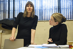 Lucy Guerin (director) and Carrie Cracknell (director) in rehearsal for Macbeth. Photo by Richard Hubert Smith