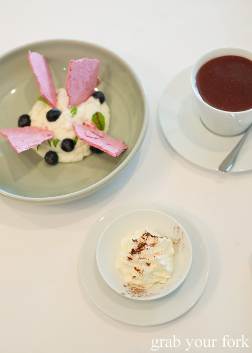 Coconut mousse with Italian hot chocolate by Pilu at Freshwater, Sydney