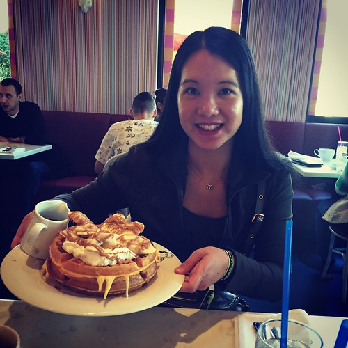 Mei with her waffle breakfast at Serendipity3.