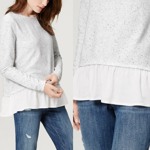 LOFT Flecked Two-In-One Sweater