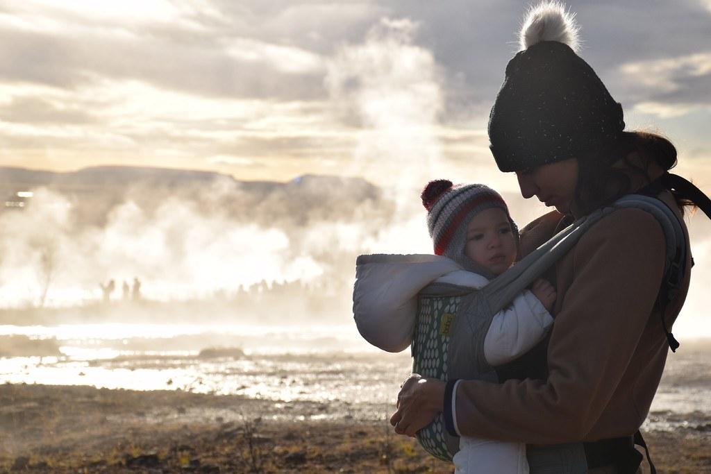 Porteando en Islandia. Embarazada de tres meses y medio.