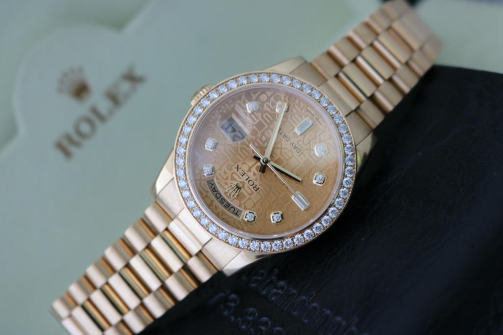 Đồng hồ rolex day date 6 số 118238 – Vàng 18k yellow – Mặt vi tính – Size 36mm