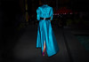 FW9-15  34w long blue satin trench large black belt purple heels by The Urban Vogue
