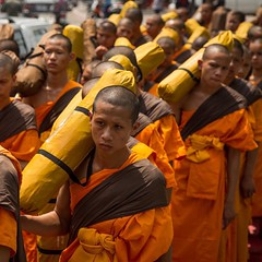 Dhutanga Buddhist Monks carry Buddha relics through Chiang Mai, Thailand. #travel #thailand #buddhism