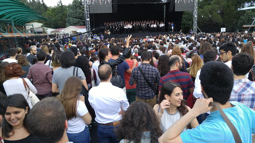 Boston Gay Men's Chorus performs in front of thousands at Bogazici University in Istanbul, Turkey