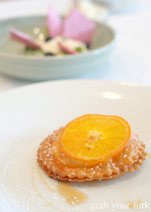 Sardininan pastry with fresh ricotta, sultanas and honey by Pilu at Freshwater, Sydney