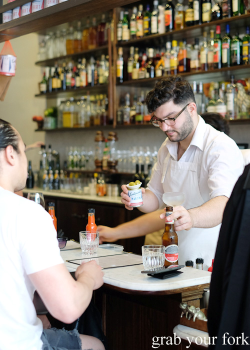Bar manager, Mikey Nicolian at Continental Deli and Bistro, Newtown Sydney food blog review