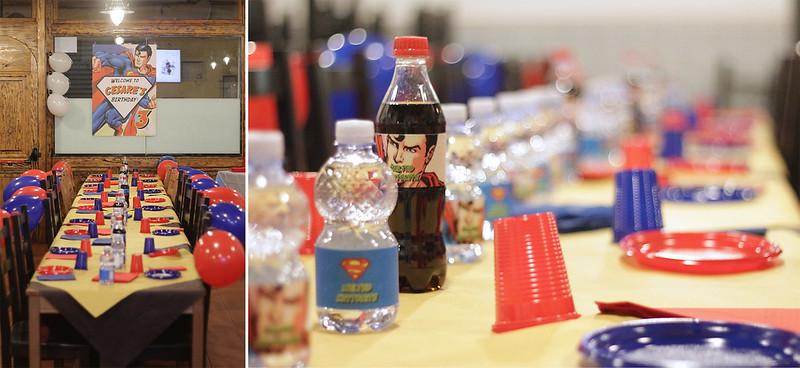 Festa tema Superman - tavolo ospiti