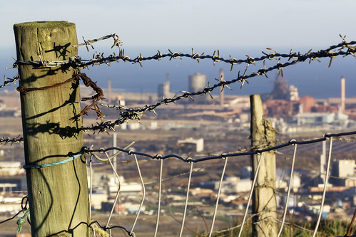 england urban industry fence wire industrial view decay tata panoramic northsea middlesbrough northeast ssi barbed 100400mm redcar corus teeside rivertees canon550d estonbeacon