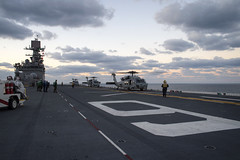 MH-60S Sea Hawks assigned to Helicopter Sea Combat Squadron (HSC) 25 prepare to depart USS Bonhomme Richard (LHD 6), Feb. 13. (U.S. Navy/MC3 William Sykes)