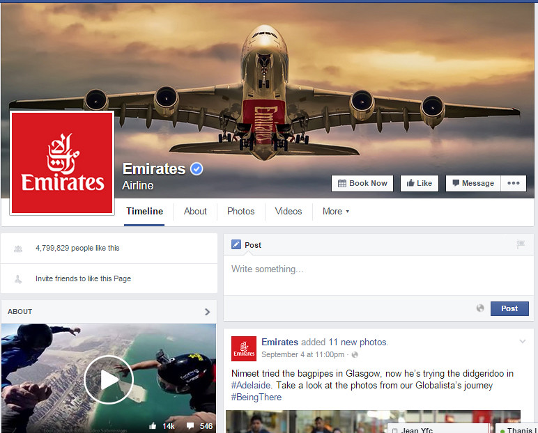 emirates air real fb page
