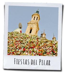 Bloemenofferande aan de patroonheilige van de stad Zaragoza in de regio Aragon