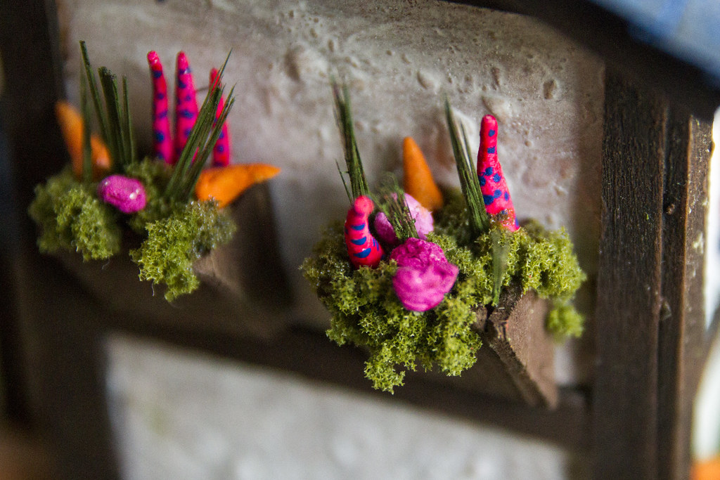 Model House: Close up of flower baskets