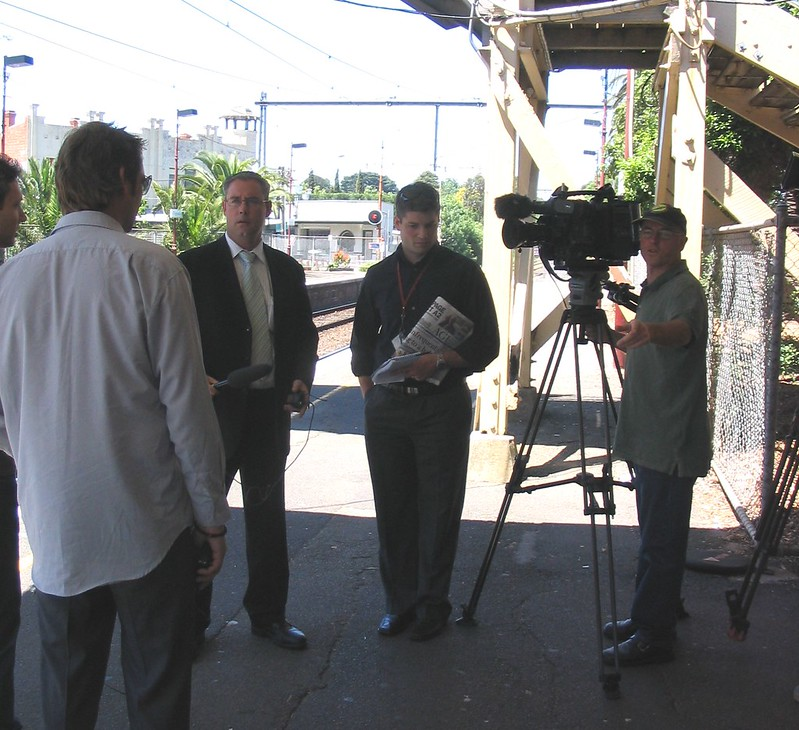 Being interviewed at Ripponlea station, 5/11/2015
