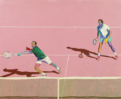 Andy Dixon, Tennis, 2015, acrylic, house paint, and oil pastel on canvas, 145 x 178 cm, 57 x 70 in