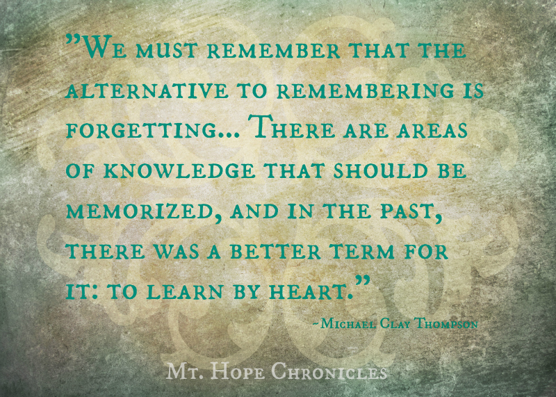 On Memory (and Classical Conversations) @ Mt. Hope Chronicles