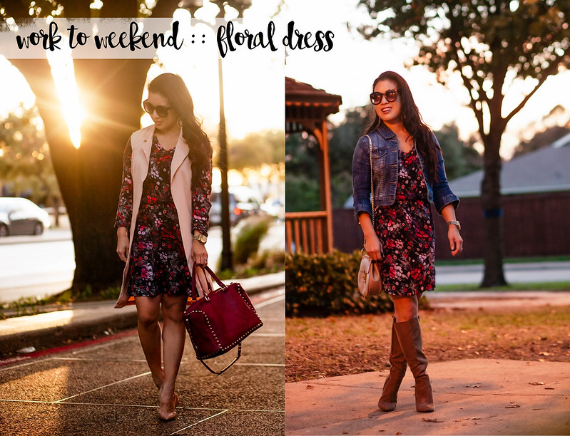 cute & little blog | petite fashion | floral dress | work to weekend remix | fall outfit