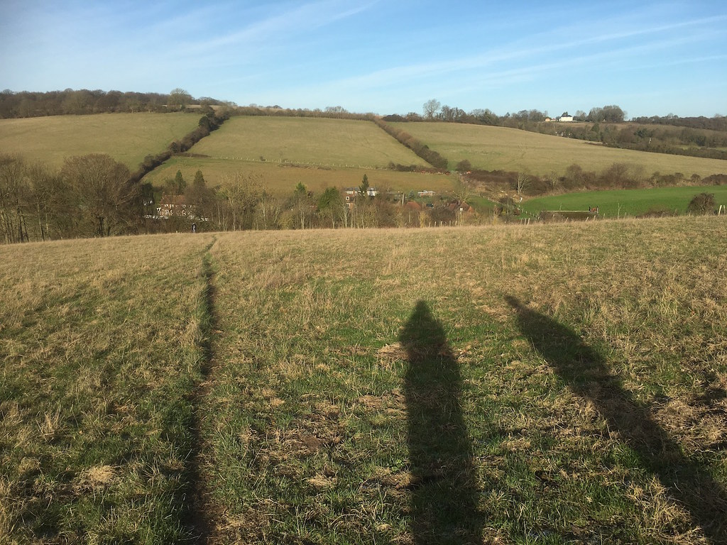 View back on the morning climb Knockholt to Otford walk