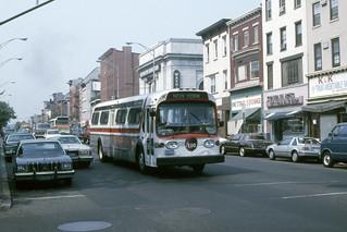 Found Photo - US NJ Hoboken Red Apple Bus Co. GMC Fishbowl #104 - Washington St. @ Newark St., Hoboken