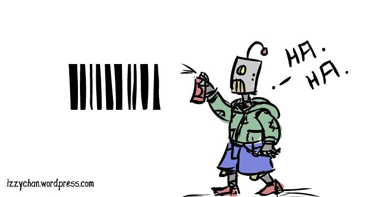 robot barcode graffiti