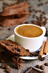Chocolate biscotti with dried cranberry.