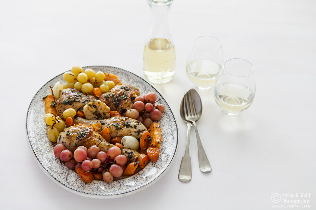 Wine Braised Herb Chicken with roasted grapes (0066) by Meeta K Wolff