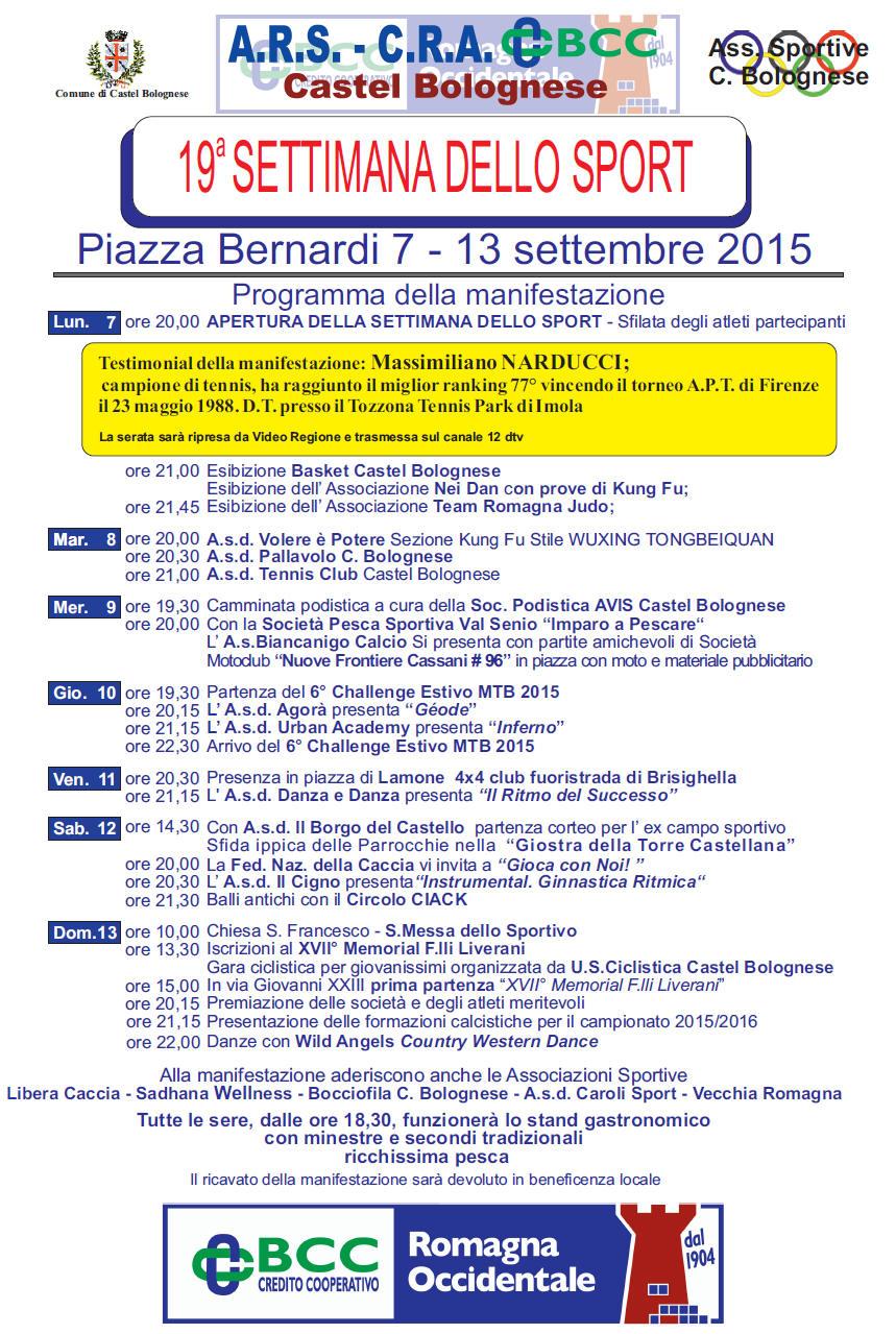 Torna, per il 19° anno, la Settimana dello sport a Castel Bolognese dal 7 al 13 settembre 2015