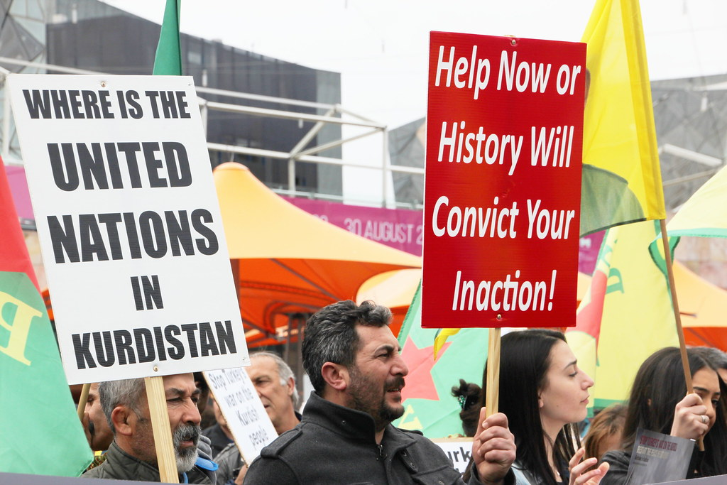 Where is the UN in Kurdistan - Rally against Turkish attacks against Kurds fighting Islamic State