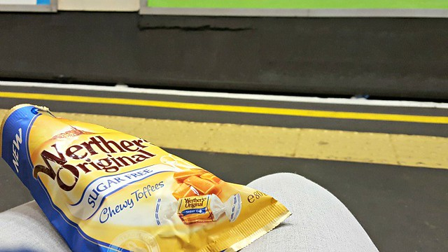 Waiting for tube train, Werther's Original