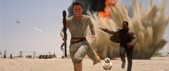 Rey, Finn, BB-8 in Star Wars: The Force Awakens.