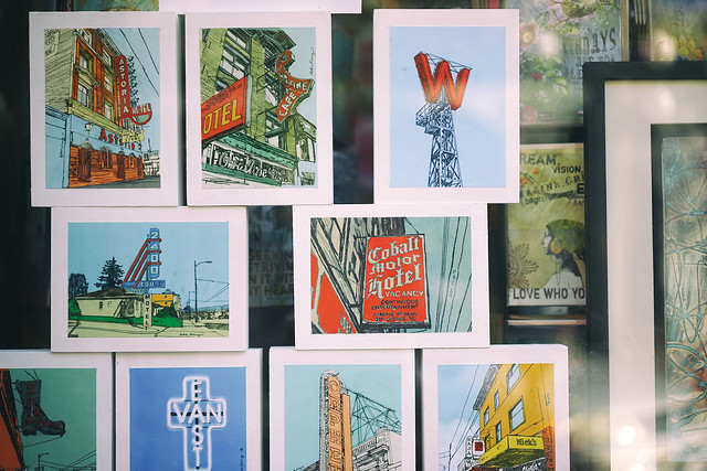 Vancouver icons behind glass