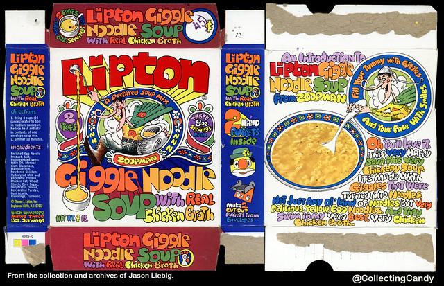 Lipton - Zoopman Giggle Noodle Soup - 4 oz prepared soup mix box - 1973
