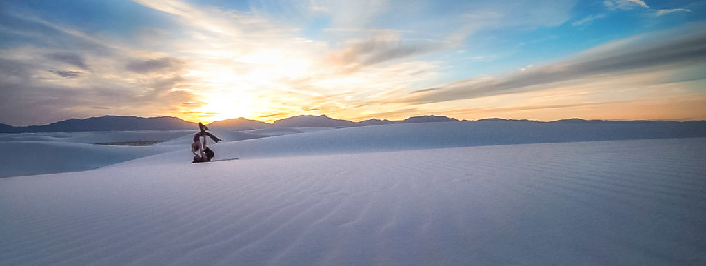 Gliding on the dunes at White Sands, New Mexico