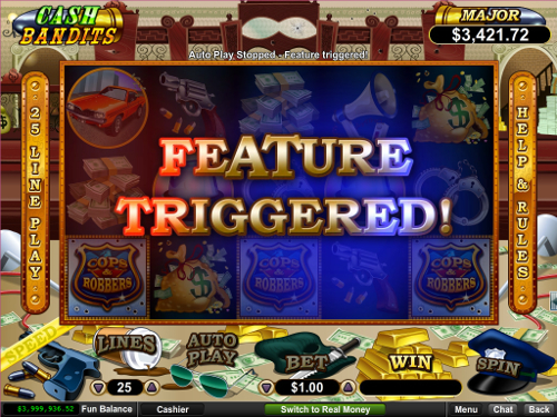 free Cash Bandits slot bonus feature